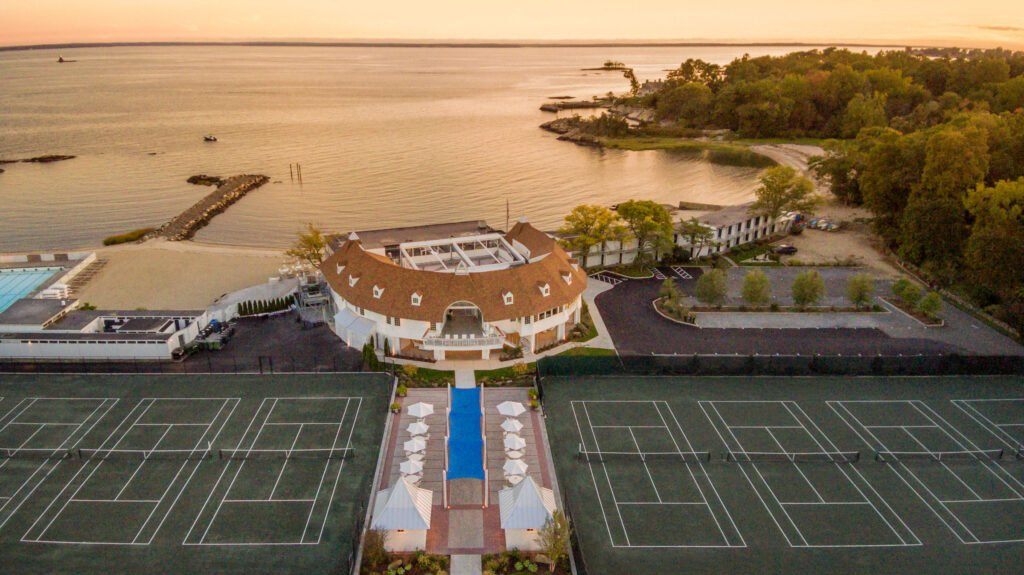 Exterior drone shot of event at Tokeneke Club