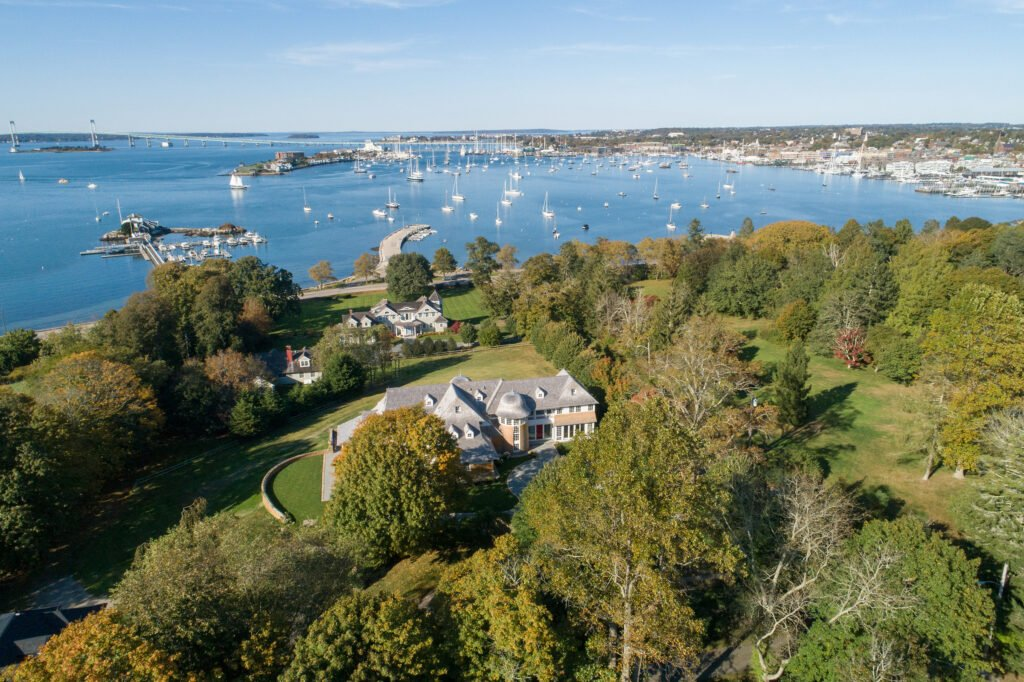 Aerial view of Newport Rhode Island waterfront home