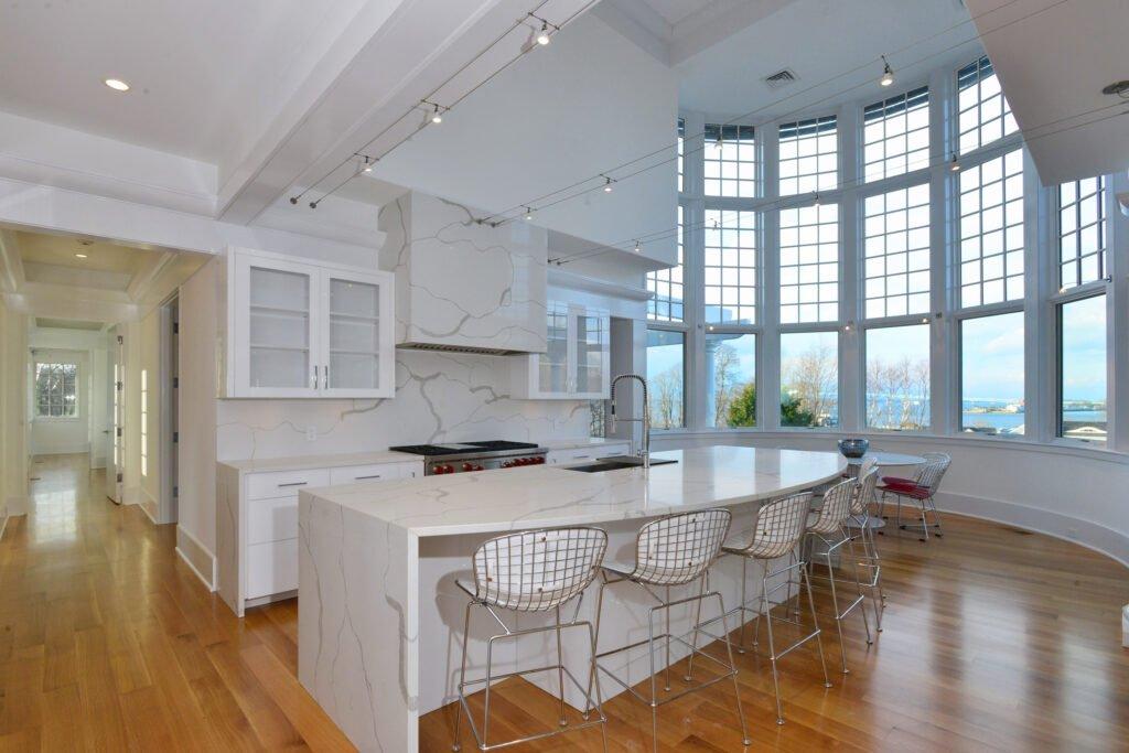 Interior kitchen of Newport Rhode Island waterfront home