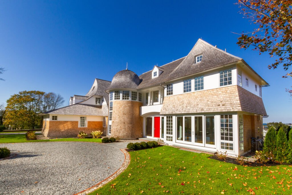 Exterior view of Newport Rhode Island waterfront home