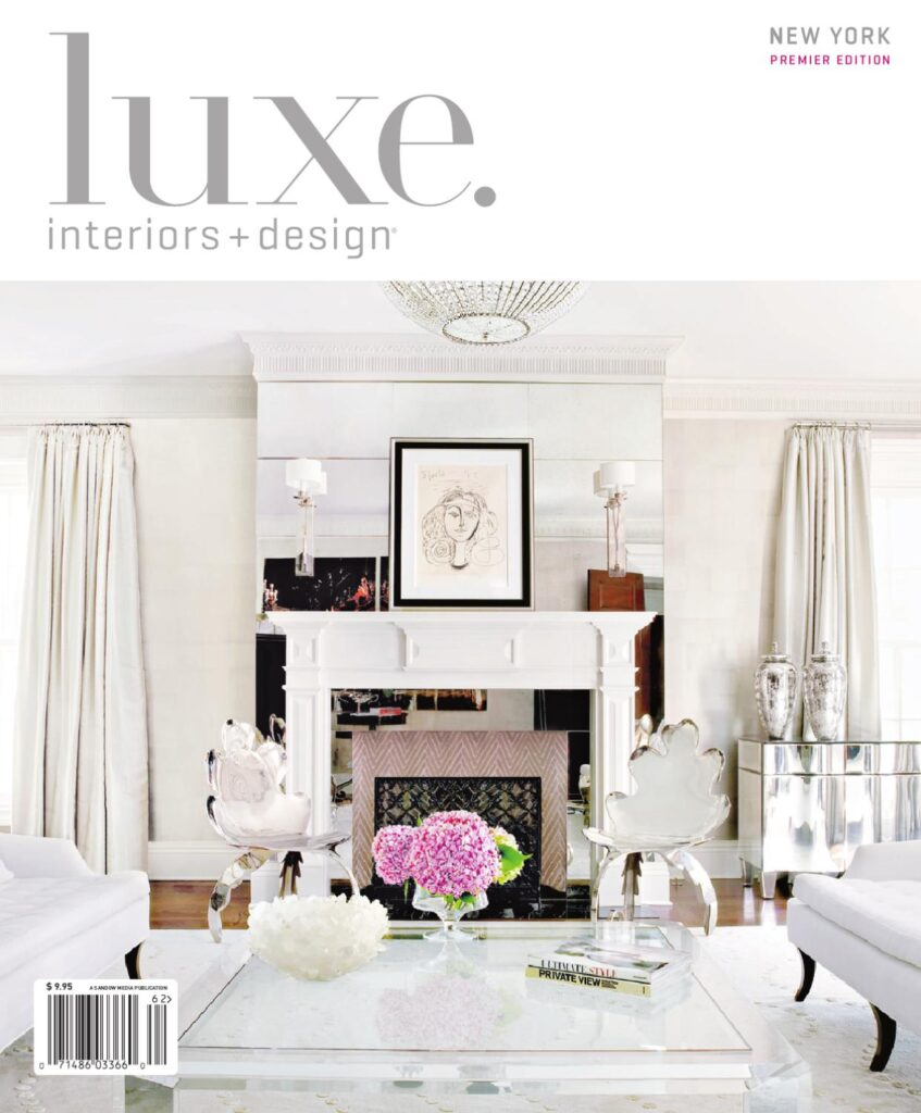 cover of the new york premier edition of luxe interiors and design magazine