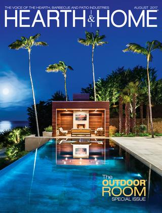cover of the august 2017 issue of the hearth and home magazine, the outdoor room special issue